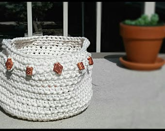 Natural Beadwork Crochet Basket
