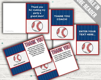 Baseball Thank You Cards (Ideal As A Thank You Coach Card, For Birthdays Or For Baby Showers). Add Your Own Text. Instant Download.
