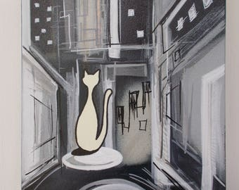 Cat In the City Town Monochrome Night Mid Century Modern Retro Style