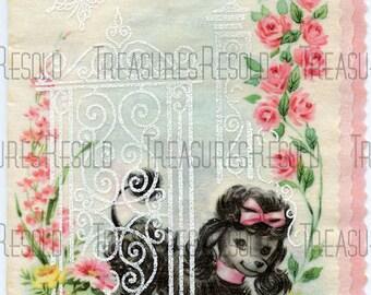Poodle Dog in the Flower Garden Card #131 Digital Download