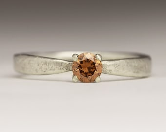 Brown Diamond and 9ct White Gold Ring, Rustic Engagement Ring, Unique Engagement, Bespoke Sandcast Flat Tapered 4mm Chocolate Diamond Ring