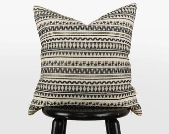 Aztec Woven Cloth Pattern | Geometric Tribal Decorative Throw Pillow Case | Black and Ecru Cream Navajo Cushion Cover | Modern Home Decor
