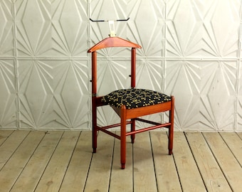 Teak Valet Chair by Fratelli Reguitti New Eames Dot Upholstery Made In Italy Mid Century Modern Retro 50's 60's Maharam