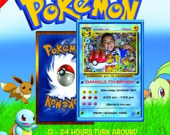 pokemon invitation, pokemon birthday invitation, pokemon birthday, pokemon card, pokemon party, pokemon invite, pokemon go, pokemon Blue