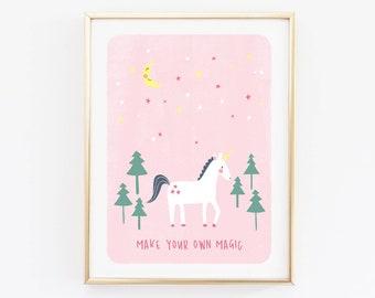 Pink Unicorn Printable Wall Art, Unicorn and Stars, Create Your Own Magic, Unicorn Poster