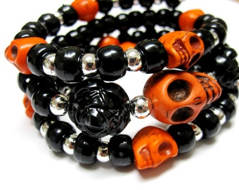 Day of the Dead Bracelet Sugar Skull Jewelry Orange Black Silver