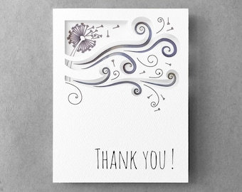 Floral thank you card | Best friend card Dandelion note card 3D thank you card Card for her Card for mom Card for friend