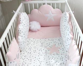 Tour de lit bébé 60cm large 3 nuages et 2 hiboux couleur rose