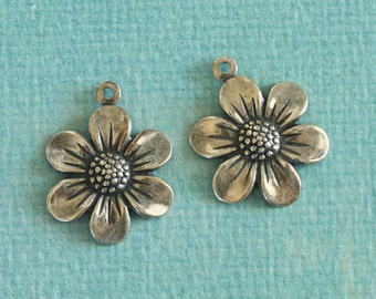 2 Silver Flower Charms 2724