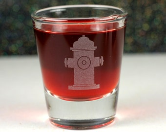 Personalized Fire Hydrant etched Shot Glass . Fireman, firefighter