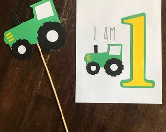I am one Tractor Photo Insert, Tractor Centerpiece, Tractor Cake Topper, Tractor Food Centerpiece, Green and Yellow Tractor
