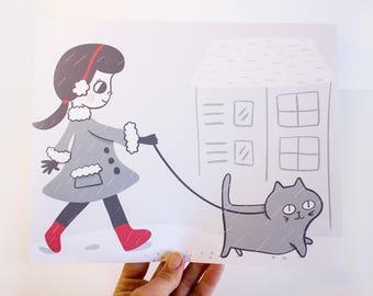 Cat Print / Cat Art /  Wall Art / Cat Gift / Gift for Cat Lover / Cat Art Prints / Cat Home Decor / Gift for Cat Lady / Cat Lady / Cats
