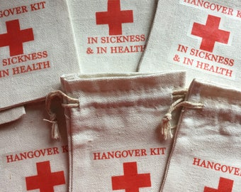 10 x Cotton Hangover Recovery Kit Favour Bags In Sickness & In Health - Fun, funky Quirky Gift