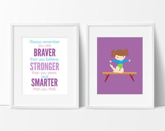 Gymnastics Gift for Girls, Always remember you are Braver, Girls Room Decor, Gymnastic Nursery