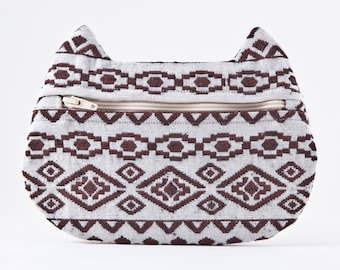 School Supplies, Aztec Makeup Bag, Cat Purse, Pencil Case, Native Bags, Cat Bag, Cat Ears Zipper Pouch, Pill Case, Travel Bag, Gift for Her