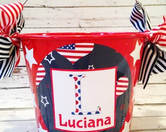 Red White & Blue Patriotic Heart Pail