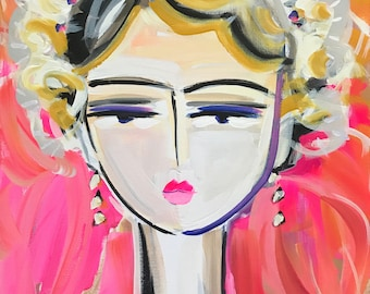 Abstract Portrait PRINT, paper or canvas, Warrior Girl, woman portrait, ROSE