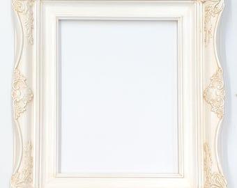 "4"" Ornate Baroque White Picture Frame Inside Sizes:  5x7 8x10 11x14 16x20 20x24 24x36"