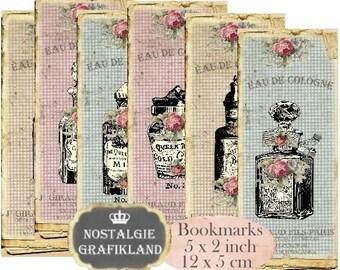 Perfume Bookmarks Instant Download digital collage sheet E176 Vintage Parfum