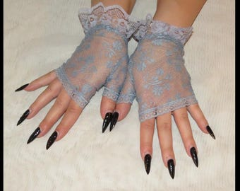 Bridal Gloves Corpse Bridal Gloves Bluish Gray Wedding Gloves hand dyed