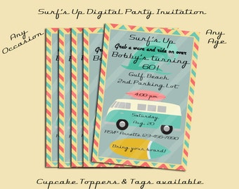 Surf's Up Digital Party Invitation Personalized Digital Download Summer Birthday, Shower, Beach Party YOU PRINT