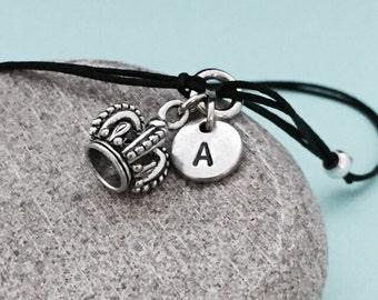 Crown cord bracelet, crown charm bracelet, adjustable bracelet, personalized bracelet, initial bracelet, monogram