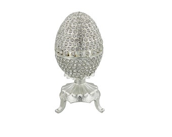 Diamante Faberge Style Egg Trinket Box, Decorated Egg Collectable Ornament - 9.5cm