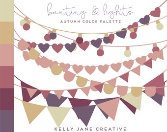 Bunting Clipart & String of Lights in Autumn Colors - Vector Bunting