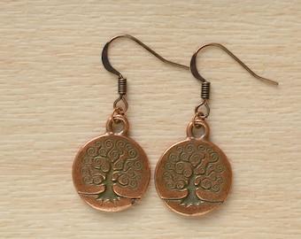 Copper Tree Earrings - Tree Of Life Jewelry - Small Dangle Earrings - Tierracast Jewelry - Round Tree Earrings - Nature Jewellery