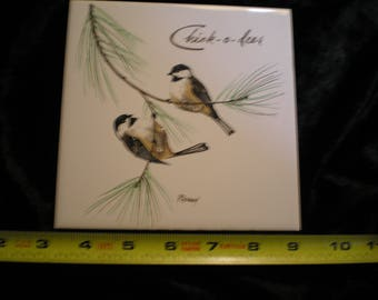 Vintage 1970s Ceramic Bird Tile - Chickadee Can be sold Individually