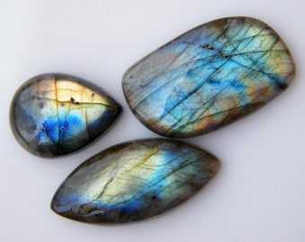 Natural Labradorite Gemstones, 3 Piece Lot, 111Ct. Mix Shape Labradorite Gemstones, Flashy Labradorite Gemstone Wholesale Lot