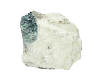 Blue Tourmaline Crystal Gem on Albite Feldspar Quartz Rock Pegmatite Matrix Indicolite Tourmaline Gemstone mined Maine USA Mineral Specimen