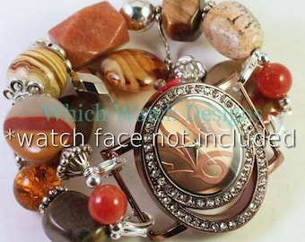 Zion View.. Stunning Earth-Tone Interchangeable Beaded Watch Band, Natural Stone
