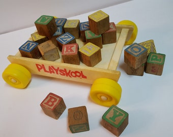Vintage Playskool Toy Wagon with Wooden Blocks Pull Toy