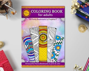 Bookmarks Coloring Book for adults & kids, 50 printable bookmarks to color, Zentangle, Henna, paisley bookmarks