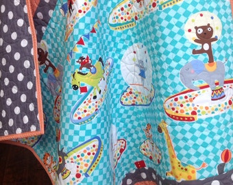 Baby Quilt, Modern, Organic, Traveling Circus, Michael Miller Collection, Circus, Tiger, Elephant, Turquoise, Orange, Baby Bedding
