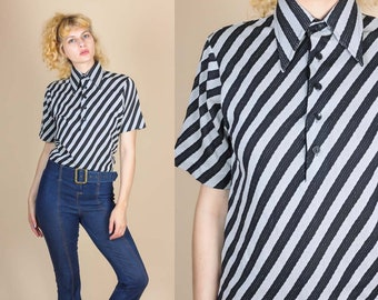 70s Striped Pointed Collar Shirt - Small // Vintage Button Up Pointed Disco Top