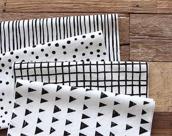 Scandinavian Nordic Style Mono Pattern Panel Fabric - 4 Designs Package
