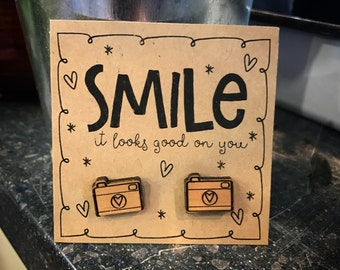 SMILE it looks good on you -wood Camera earrings