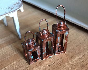 Set of 3 Dollhouse Miniature Lanterns in Rusty Copper
