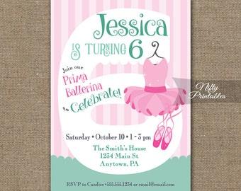 6 year old invite etsy 6th birthday invitations ballerina birthday invitation printable girls 6th birthday party six year stopboris Choice Image