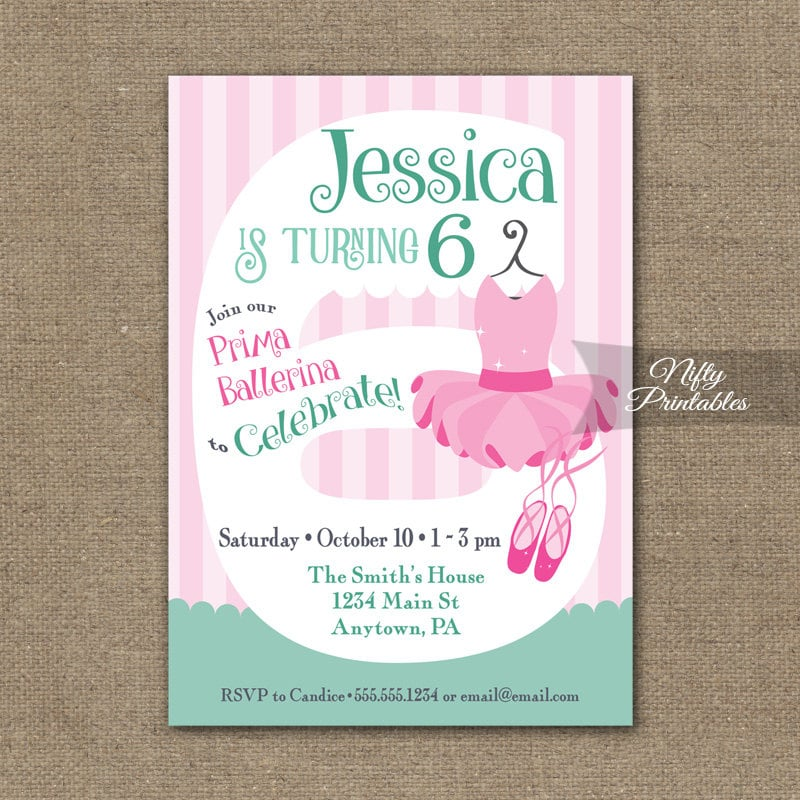 6th Birthday Invitations Ballerina Birthday Invitation