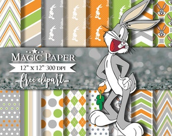 Bugs Bunny Digital Paper Clipart Scrapbook Instant Download