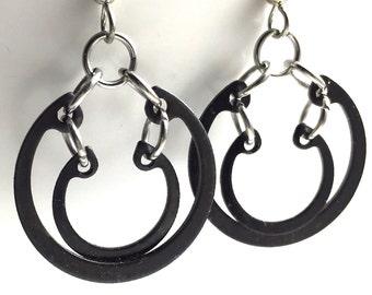 Black Dangle Earrings Hardware Jewelry Industrial Hoops Eco Friendly
