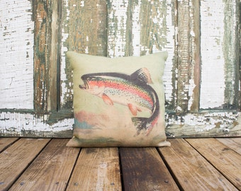 Trout Burlap Pillow, Decorative Throw Pillow, Fishing Pillow