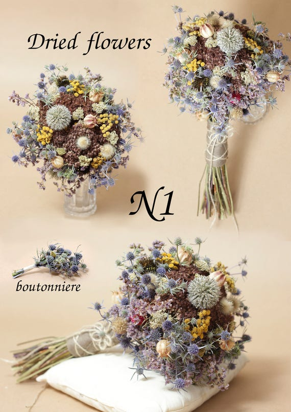 Wedding bouquets. Dried flower bridal bouquet Bridal bouquet
