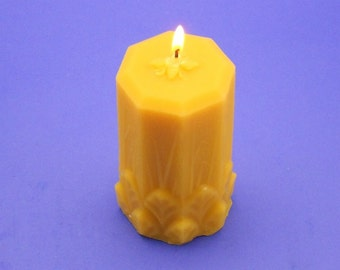 """Beeswax Candle, 2.5"""" x 5"""" Beeswax Pillar, 100% Pure Bees Wax Candle, Organic Beeswax Cappings Candle, Home Decor Candle, Natural Candle"""