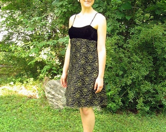 Upcycled Prom Party Dress Black and Gold Cocktail Dress Modern Size 8 Small