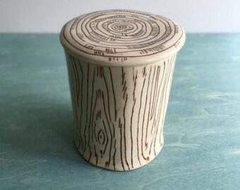 Porcelain Sugar Jar, Catch All Box, Faux Bois Sugar Jar, Porcelain Lidded Jar, Woodgrain Sugar jar   Trinket Box