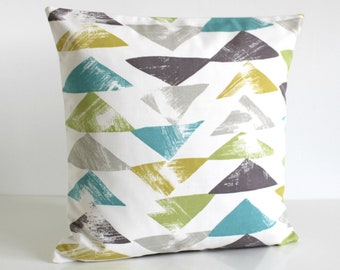 Geometric Pillow Cover, Throw Pillow, Decorative Pillow, 16x16 Cushion Cover, Pillow Sham, 18x18 Couch Pillow - Pop Triangle Teal